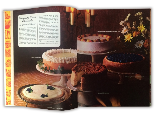 Woman's Day Encyclopedia of Cookery, Vol. 3—Cat-Cre, copyright 1966. Cheesecake spread.