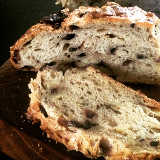 Olive + Almond Rosemary Sourdough sliced