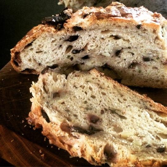 Olive + Almond Rosemary Sourdough sliced